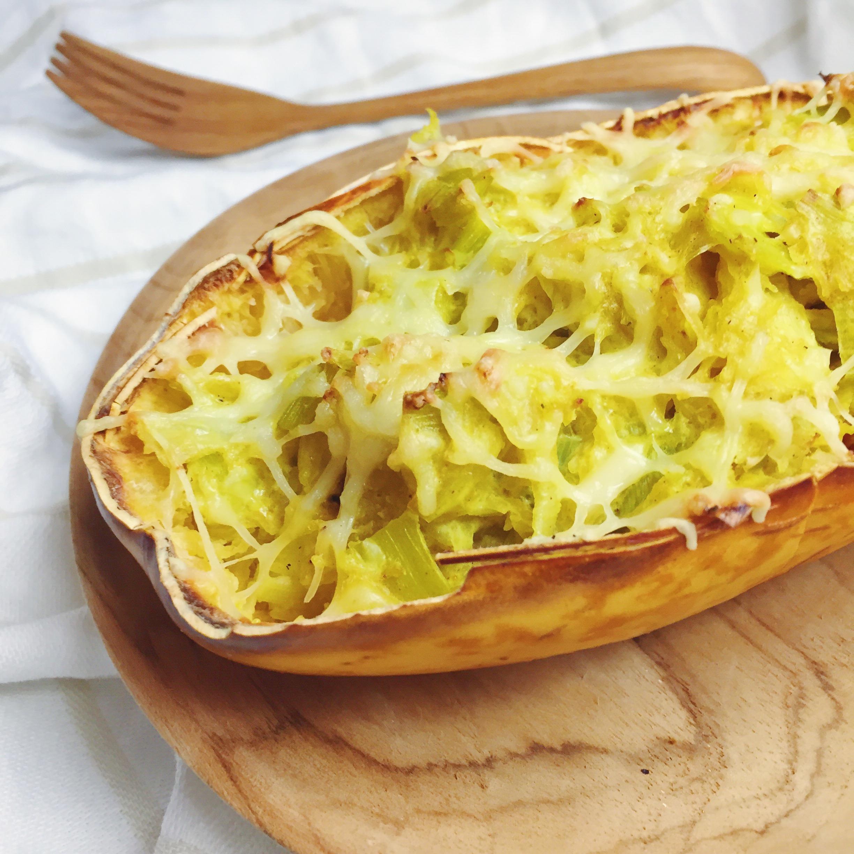 Courge spaghetti farcie recette v g tarienne et sans - Cuisiner la courge spaghetti ...